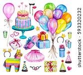 watercolor birthday party set.... | Shutterstock . vector #593320232