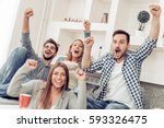 cheerful group of friends... | Shutterstock . vector #593326475
