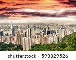 hong kong stunning skyline at... | Shutterstock . vector #593329526