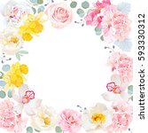 floral vector round frame with... | Shutterstock .eps vector #593330312
