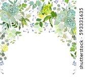 semicircle garland herbal frame ...   Shutterstock .eps vector #593331635