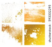 set grunge gold distress... | Shutterstock .eps vector #593332295