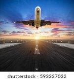 passengers airplane landing to... | Shutterstock . vector #593337032