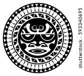 beautiful polynesian style... | Shutterstock .eps vector #593340695