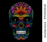 Vector Color Tattoo Skull On...