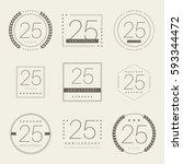 twenty five years anniversary... | Shutterstock .eps vector #593344472