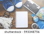 kit traveler. pen blank notepad ... | Shutterstock . vector #593348756