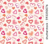 love theme hearts valentine's... | Shutterstock .eps vector #593350076
