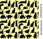 black cats on yellow background | Shutterstock .eps vector #593354276