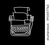 vintage mechanical typewriter.... | Shutterstock .eps vector #593357762