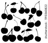 vector silhouette of cherry... | Shutterstock .eps vector #593360822