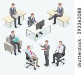 group of business man isometric ... | Shutterstock .eps vector #593362088