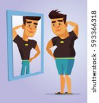 fat man character pretend to be ... | Shutterstock .eps vector #593366318