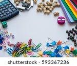 school and office supplies. top ... | Shutterstock . vector #593367236