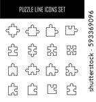 set of puzzle in modern thin... | Shutterstock .eps vector #593369096