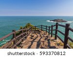 beautiful coastline of hyuga... | Shutterstock . vector #593370812