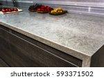stone gray worktop with dark... | Shutterstock . vector #593371502
