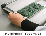 microchip production factory.... | Shutterstock . vector #593374715