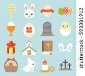 set of cute easter icon  flat... | Shutterstock .eps vector #593381912