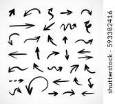hand drawn arrows  vector set | Shutterstock .eps vector #593382416
