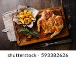 grilled fried roast chicken... | Shutterstock . vector #593382626