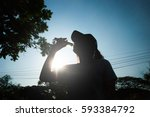 silhouette of fitness athlete... | Shutterstock . vector #593384792