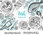 vintage seafood frame vector... | Shutterstock .eps vector #593391932
