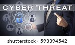 Small photo of Male enterprise consultant in blue business suit is identifying a CYBER THREAT scenario. Information technology concept and computer security metaphor. Unlocked virtual padlock signifying the breach.