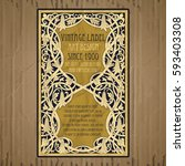vector vintage items  label art ... | Shutterstock .eps vector #593403308