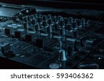 dj sound equipment at... | Shutterstock . vector #593406362