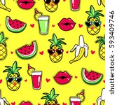 tropic seamless pattern with... | Shutterstock .eps vector #593409746