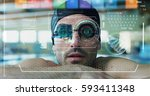 professional swimmer leaning at ...   Shutterstock . vector #593411348