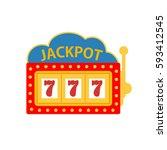 jackpot on a slot machine    Shutterstock . vector #593412545