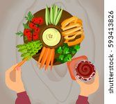 person is vegetables and hummus ... | Shutterstock .eps vector #593413826