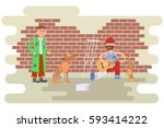 tramp person with homeless dog... | Shutterstock .eps vector #593414222