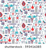 health care seamless pattern in ... | Shutterstock .eps vector #593416385