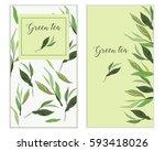 vector vertical green tea... | Shutterstock .eps vector #593418026