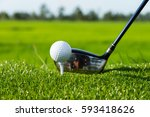 golf club and ball in grass | Shutterstock . vector #593418626