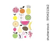 fruits and veggies poster ... | Shutterstock .eps vector #593421362