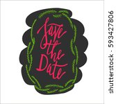 save the date lettering. hand... | Shutterstock .eps vector #593427806
