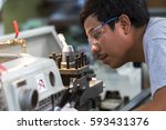 operator use machine production ... | Shutterstock . vector #593431376