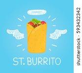 heaven burrito kebab beef... | Shutterstock .eps vector #593432342