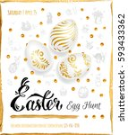 poster   easter egg hunt  ... | Shutterstock .eps vector #593433362