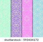 set of decorative floral... | Shutterstock .eps vector #593434172