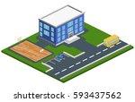 isometric 3d concept vector... | Shutterstock .eps vector #593437562