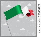 italian flag wavy abstract... | Shutterstock . vector #593438222