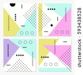 set of modern cards with... | Shutterstock .eps vector #593438528