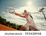 tennis player playing tennis in ... | Shutterstock . vector #593438948