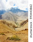 gorge in the himalayan... | Shutterstock . vector #593443862