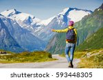 hitchhiking tourism concept.... | Shutterstock . vector #593448305